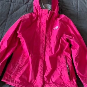 hot pink northface rain jacket